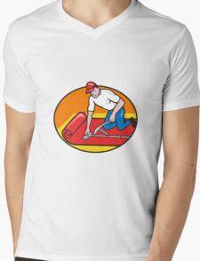 Carpet Layer Fitter Worker Cartoon Mens V-Neck T-Shirt
