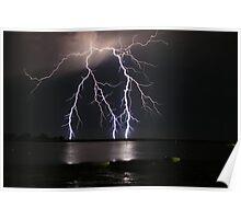 Lightning over water Poster