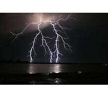 Lightning over water Photographic Print