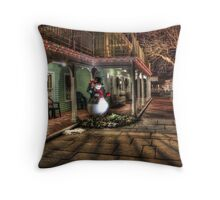 Snowman Winter Scene Throw Pillow