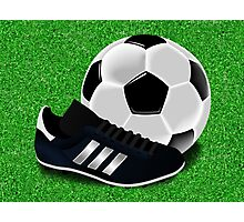 Soccer Cleat and Soccer Ball Photographic Print