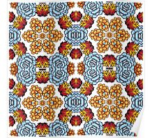 Kaleidoscope of succulents in boho style. Poster