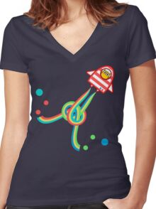Owl in space Women's Fitted V-Neck T-Shirt