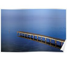 Wooden Pier Reflected in Water Poster