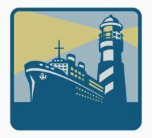 Passenger Ship Cargo Boat Lighthouse Retro T-Shirt