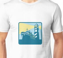 Passenger Ship Cargo Boat Lighthouse Retro Unisex T-Shirt
