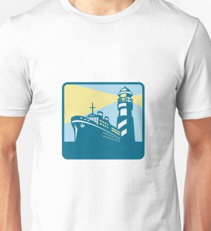 Passenger Ship Cargo Boat Lighthouse Retro Unisex T-Shirt