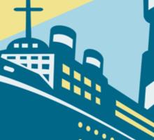 Passenger Ship Cargo Boat Lighthouse Retro Sticker