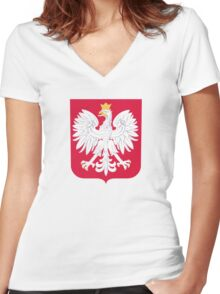Coat of Arms of Poland Women's Fitted V-Neck T-Shirt
