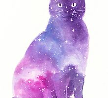 Space Cat Watercolor by rachelbuske