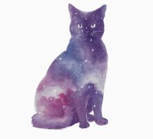 Space Cat Watercolor Baby Tee