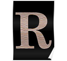 Letter R Metallic Look Stripes Silver Gold Copper Poster