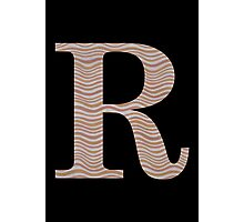 Letter R Metallic Look Stripes Silver Gold Copper Photographic Print