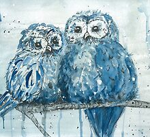 Blue Owls by Shellsbellsart