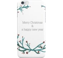 Green Garland- Merry christmas & a happy new year iPhone Case/Skin