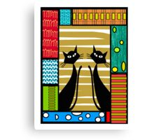 Whimsical Black Cats Canvas Print