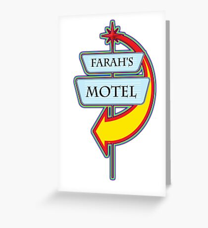 Farah's Motel campy truck stop tee  Greeting Card