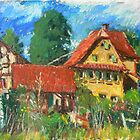 rural farmstead plein air oilstick painting by aceshirt