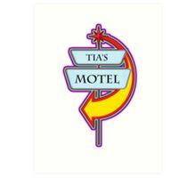 Tia's Motel campy truck stop tee  Art Print