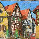 Framework houses,plein air oil painting by aceshirt