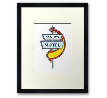 Sandy's Motel campy truck stop tee  Framed Print