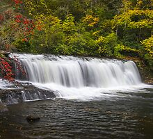 Hooker Falls in Autumn - Dupont State Forest NC by Dave Allen