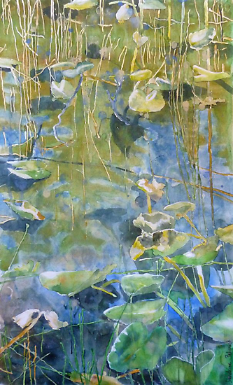 One Mile Lake, watercolor on paper mounted on board by Sandrine Pelissier