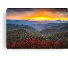 Blue Ridge Parkway Autumn Sunset NC - Rapture Canvas Print