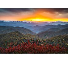 Blue Ridge Parkway Autumn Sunset NC - Rapture Photographic Print