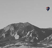 CO Rocky Mountain Front Range Hot Air Balloon View BW by Bo Insogna