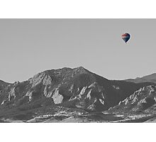 CO Rocky Mountain Front Range Hot Air Balloon View BW Photographic Print