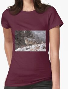Snow leopard Womens Fitted T-Shirt