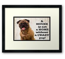 A House is not a home without a crazy pug Framed Print