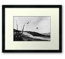 tree swallows in yellowstone Framed Print