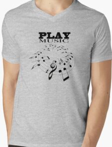 PLAY MUSIC Mens V-Neck T-Shirt