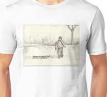 Boy and His Sleigh Unisex T-Shirt