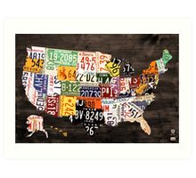 License Plate Map of the United States of America - Warm Colors / Black Edition Art Print
