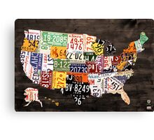 License Plate Map of the United States of America - Warm Colors / Black Edition Canvas Print