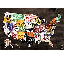 License Plate Map of the United States of America - Warm Colors / Black Edition Photographic Print