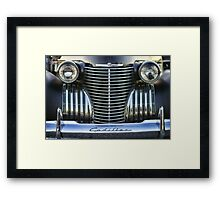Black Cadillac Grill and Headlights Framed Print