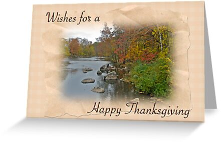 Thanksgiving Greeting Card - Autumn Creek by MotherNature