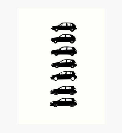 VW Golf Black Mk1-Mk7 Art Print