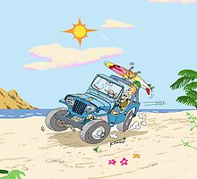 Willys Overland CJ3A Universal Jeep surfing! by RFlores