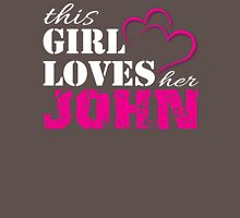 This Girl Loves her John in Pink and white lettering T-Shirt