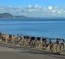 Parked Bicycles at Lyme  Dorset UK by lynn carter