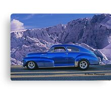 Custom Blue Street Rod at the Glacier in Whistler Canvas Print