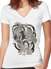 Ancient Jazztecs Women's Fitted V-Neck T-Shirt