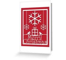 Christmas Tree and Red Robins Paper Cut Art Design Greeting Card
