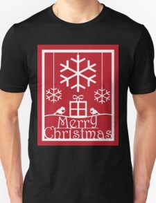 Christmas Tree and Red Robins Paper Cut Art Design T-Shirt