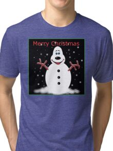 Merry Christmas Snooooman Tri-blend T-Shirt